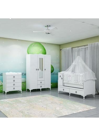 Garaj Home Garaj Home Sude Asansörlü Bebek Odası Takımı - Yatak Ve Uyku Seti Kombinli/ Uyku Seti Beyaz Beyaz